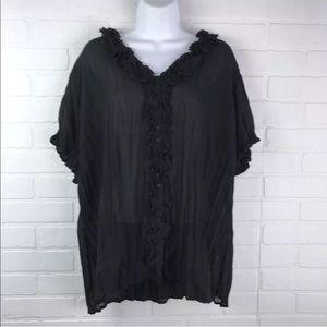 Sunny Leigh 2x Black Sheer Short Sleeve Blouse